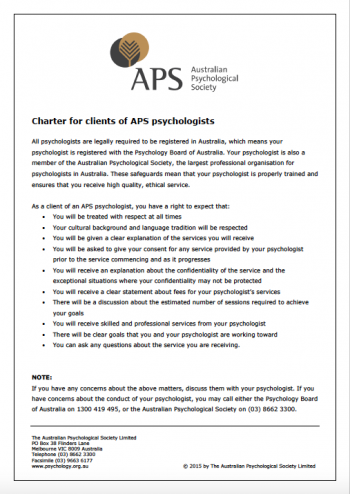 APS Charter Clients of Psychologists rights